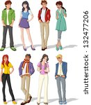group of fashion cartoon young... | Shutterstock .eps vector #132477206