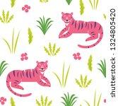 pink tiger   seamless pattern ... | Shutterstock .eps vector #1324805420