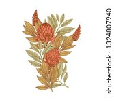 hand drawn protea flower.... | Shutterstock .eps vector #1324807940