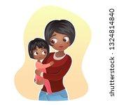 cartoon happy family mother... | Shutterstock . vector #1324814840