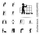 worker puts tile icon.... | Shutterstock .eps vector #1324814993