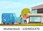 plumber service arrival cartoon ... | Shutterstock .eps vector #1324831370