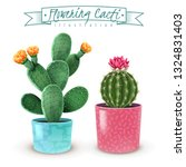 blooming cacti realistic set of ... | Shutterstock .eps vector #1324831403