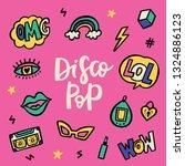 disco pop 90's stile doodle... | Shutterstock .eps vector #1324886123