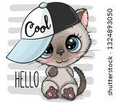 cartoon cool kitten with a blue ... | Shutterstock .eps vector #1324893050