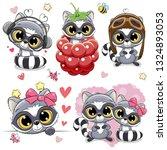 set of cute cartoon raccoons on ... | Shutterstock .eps vector #1324893053