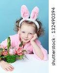 funny girl with rabbit ears | Shutterstock . vector #132490394
