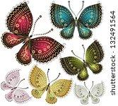 set fantasy colorful vintage... | Shutterstock .eps vector #132491564