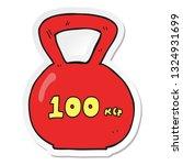 sticker of a cartoon 100kg... | Shutterstock .eps vector #1324931699