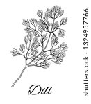 ink dill hand drawn sketch.... | Shutterstock .eps vector #1324957766