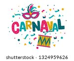 carnival card or banner with...   Shutterstock .eps vector #1324959626