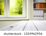 wooden table of free space and... | Shutterstock . vector #1324962956