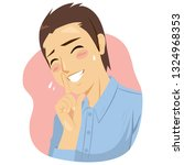 illustration of insecure shy... | Shutterstock .eps vector #1324968353