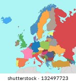colorful map of europe | Shutterstock . vector #132497723
