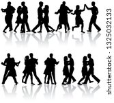 black set silhouettes dancing... | Shutterstock . vector #1325032133