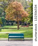 old green bench near the fresh... | Shutterstock . vector #132506534