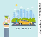 machine yellow cab  young man... | Shutterstock .eps vector #1325078630