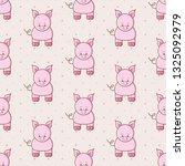kawaii pig seamless vector... | Shutterstock .eps vector #1325092979