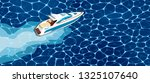 top view speed boat on water... | Shutterstock .eps vector #1325107640