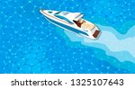 top view speed boat on water... | Shutterstock .eps vector #1325107643