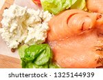 salmon with cottage cheese aand ... | Shutterstock . vector #1325144939