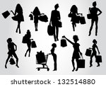 woman shopping silhouettes | Shutterstock .eps vector #132514880