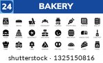 bakery icon set. 24 filled bakery icons.  Collection Of - Food, Bread, Croissant, Cookies, Pastry bag, Waffle, Biscuit, Brownie, Doughnut, Macaron, Snack cake, Cake pop, Chef