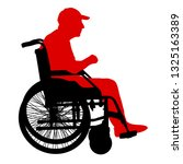 silhouettes disabled in a wheel ... | Shutterstock .eps vector #1325163389