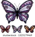 vintage butterflies. pink and... | Shutterstock .eps vector #1325179469