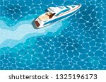 top view speed boat on water... | Shutterstock .eps vector #1325196173