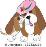 a mature basset hound is... | Shutterstock .eps vector #132522119