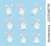 set of cute easter rabbits with ... | Shutterstock .eps vector #1325248739