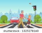 helping senior old man. little... | Shutterstock .eps vector #1325278160