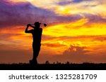 silhouette of golfer hit... | Shutterstock . vector #1325281709