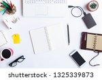white desk office with laptop ... | Shutterstock . vector #1325339873