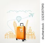 around the world concept with... | Shutterstock .eps vector #1325357093