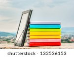 stack of colorful books with... | Shutterstock . vector #132536153
