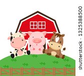 Farm Animals Cartoon. Cow Pig...