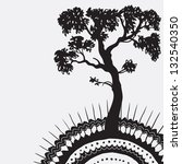 Vector illustration of ecology, ornamen and tree,  black and white