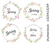 tulip and daisy spring wreath... | Shutterstock .eps vector #1325413259