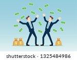 businessmen throwing money in... | Shutterstock .eps vector #1325484986