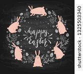pink easter rabbits  eggs and... | Shutterstock . vector #1325503340