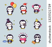 cute penguin kawaii clipart... | Shutterstock .eps vector #1325521739