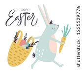 easter bunny with hand drawn... | Shutterstock .eps vector #1325529776