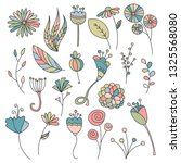 set with cute spring flowers.... | Shutterstock .eps vector #1325568080