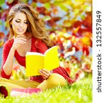 Beautiful Girl With Book In The ...