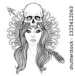 shaman woman with a long hair ... | Shutterstock .eps vector #1325612063