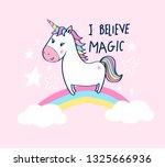 sweet unicorn illustration... | Shutterstock .eps vector #1325666936