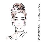 hand drawn fashion girl with... | Shutterstock .eps vector #1325738729