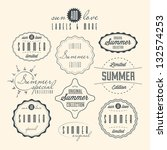 Stock vector set of summer related vintage labels 132574253